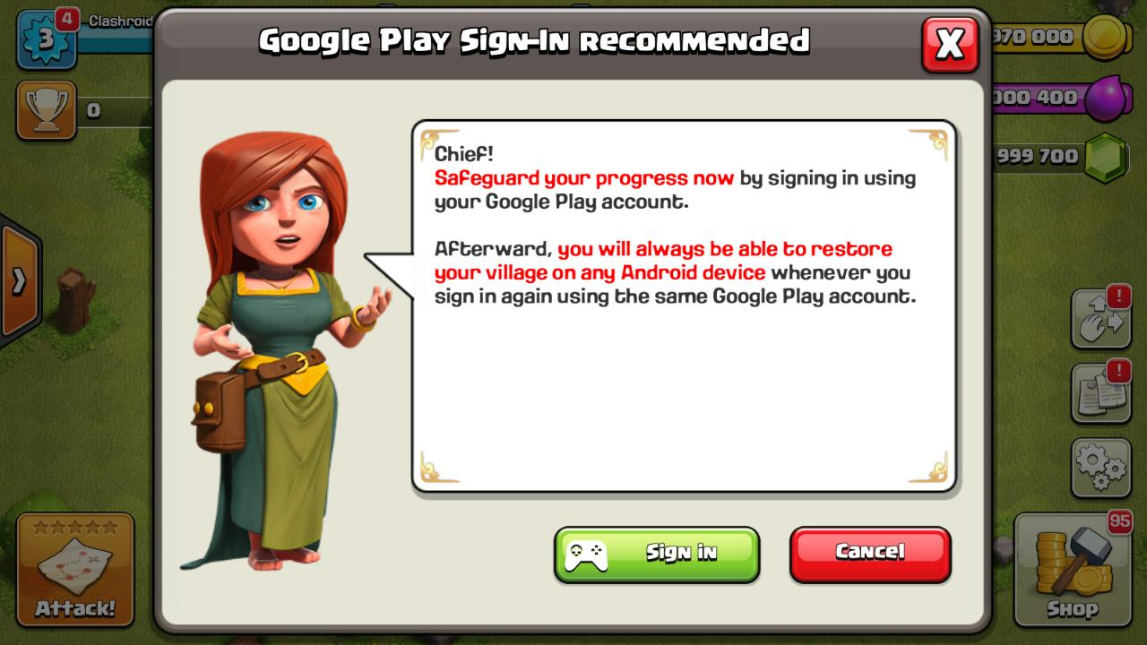 Save COC Mod Progress, Login to Google COC, login to Google account in clash of clans