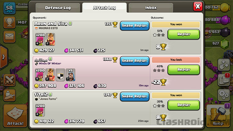 Get Huge Loot in COC, COC Loot, Clash of Clans Attack Log