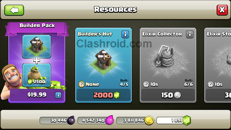 Buy Clash of Clans Builder, Buy Builder's Hut, Get 5th Builders Hut, COC Builders, Get all builders in Clash of Clans
