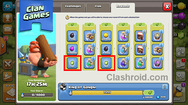 Clash of Clans Clan Games, Clan Games Rewards