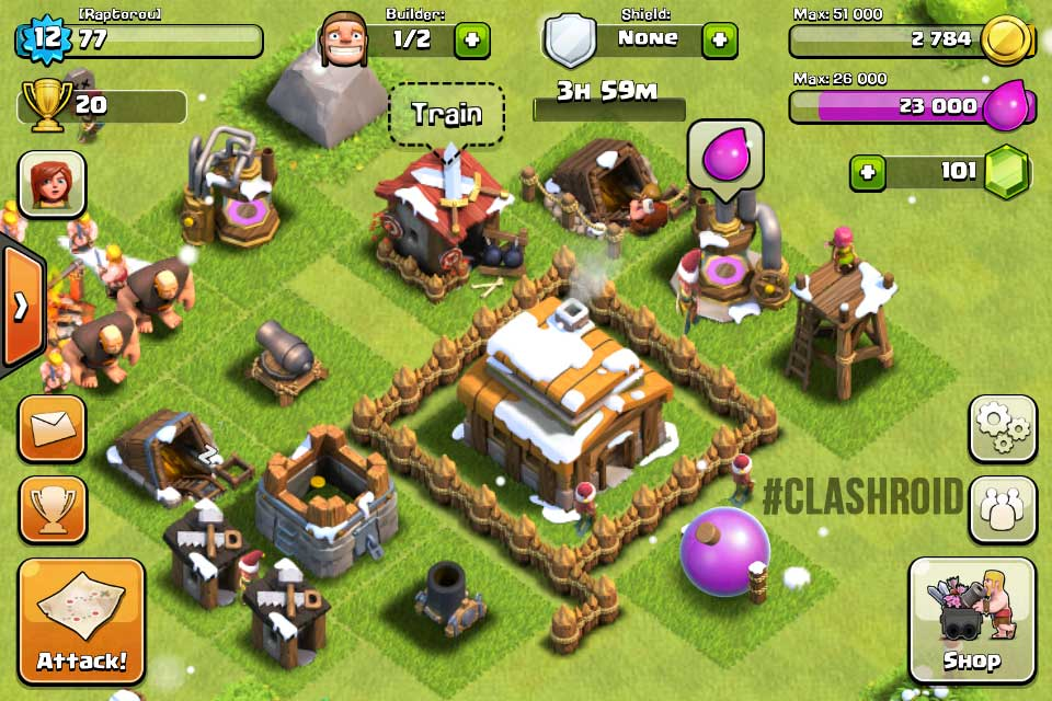 A screenshot of a village in Clash of Clans